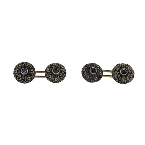 image of Antique Sapphire Gold Cufflinks