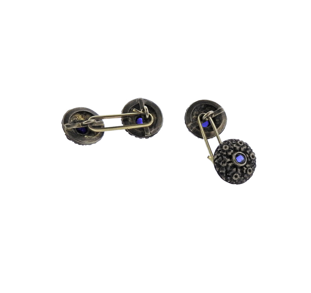 thumbnail image of Antique Sapphire Gold Cufflinks