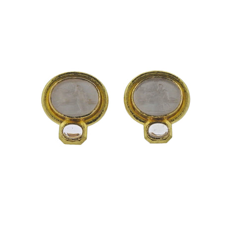 image of Elizabeth Locke Moonstone Venetian Glass Intaglio Gold Earrings