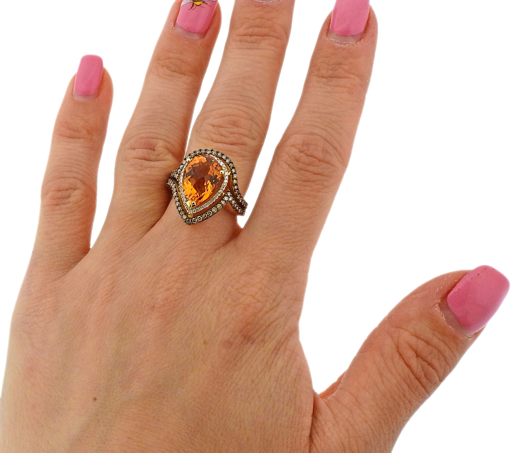 thumbnail image of LeVian Gold Chocolate Diamond Citrine Cocktail Ring