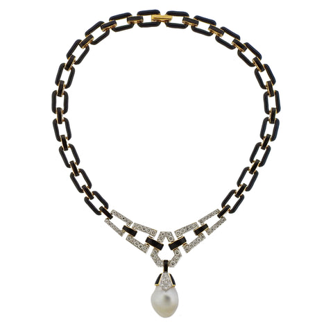 image of David Webb Diamond Pearl Enamel Platinum Gold Necklace