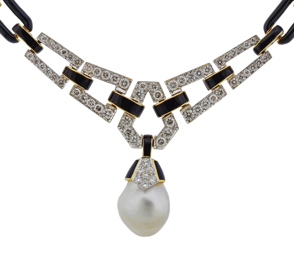 thumbnail image of David Webb Diamond Pearl Enamel Platinum Gold Necklace