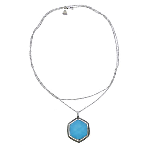 image of Stephen Webster Deco Gold Turquoise Hematite Diamond Necklace