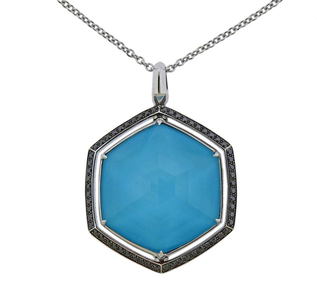 thumbnail image of Stephen Webster Deco Gold Turquoise Hematite Diamond Necklace