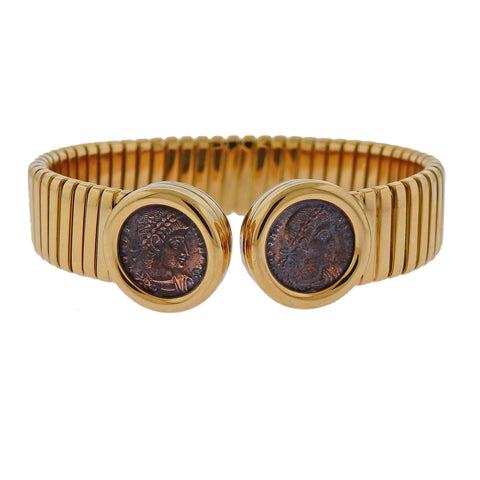 image of Bulgari Monete Ancient Coin Gold Cuff Bracelet