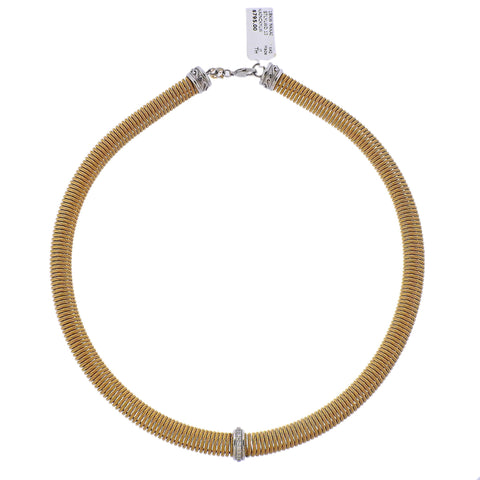 image of Alor Stainless Steel Gold Diamond Elastic Necklace