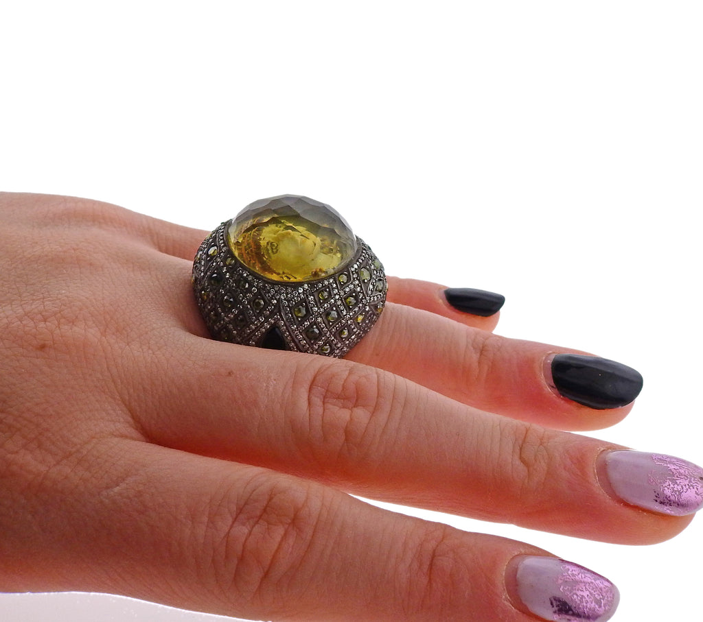 thumbnail image of Sevan Bicakci Green Diamond Crystal Gold Silver Ring