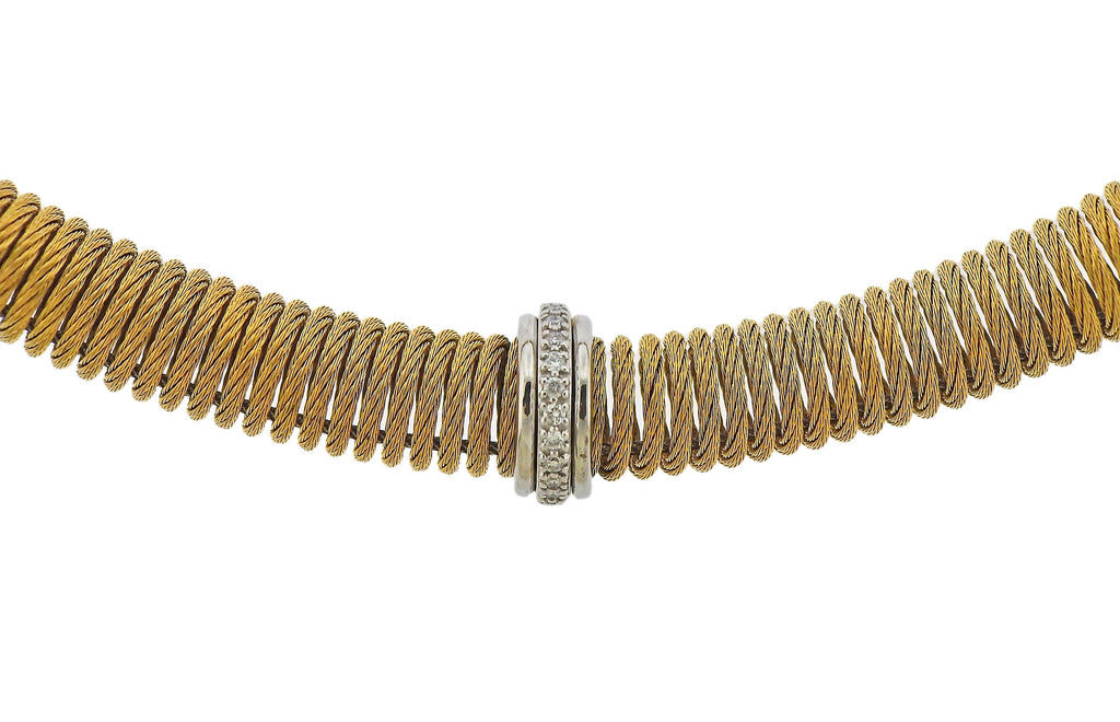 thumbnail image of Alor Stainless Steel Gold Diamond Elastic Necklace