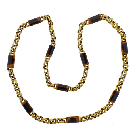 image of 1970s Tiger's Eye Gold Link Necklace