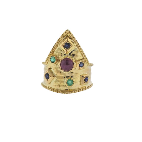 image of Lalaounis Greece Ruby Emerald Sapphire Gold Ring