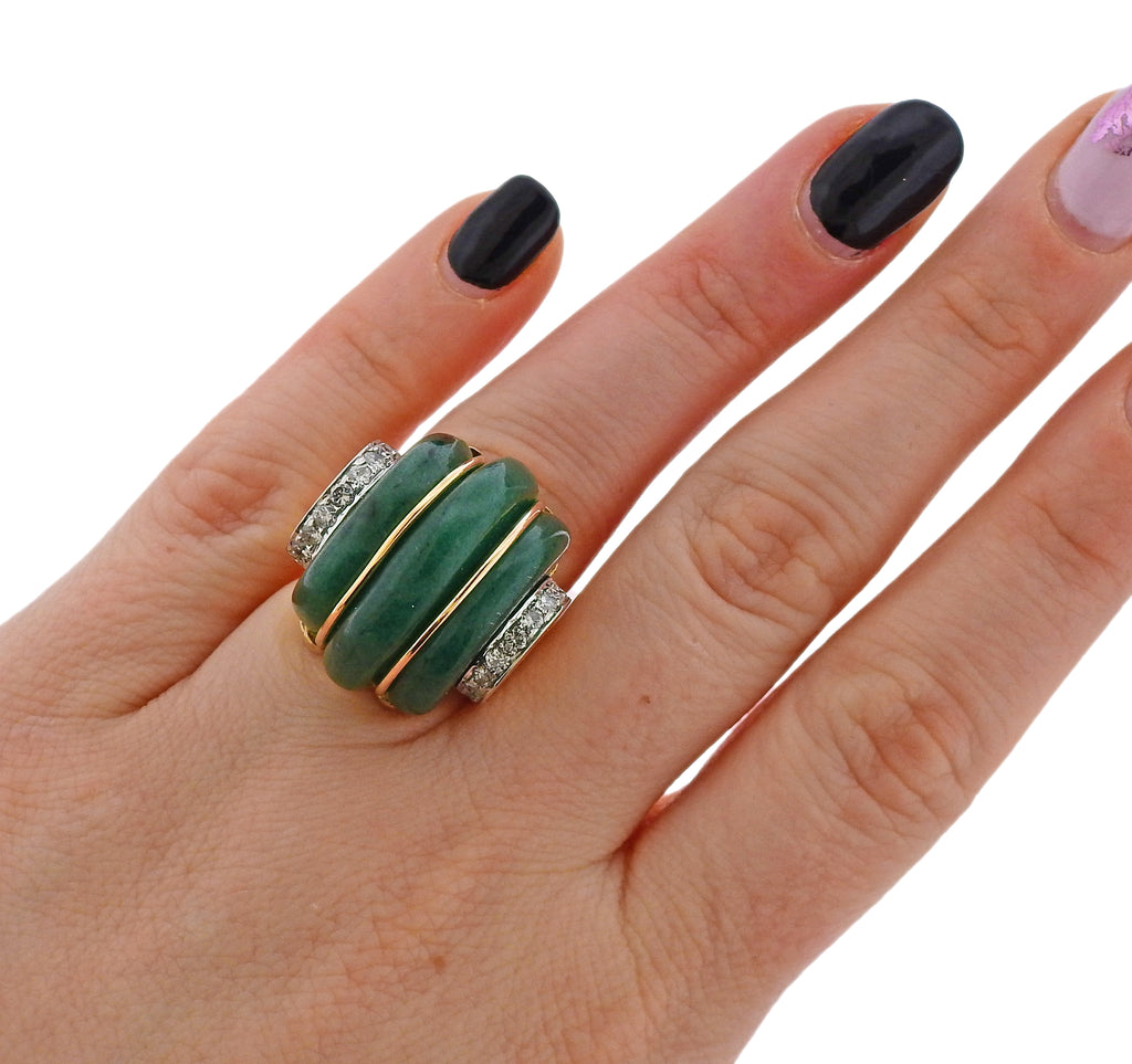 thumbnail image of 1980s Carved Aventurine Diamond Gold Ring