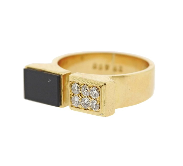 thumbnail image of 1980s Cartier Diamond Onyx Gold Cuff Ring