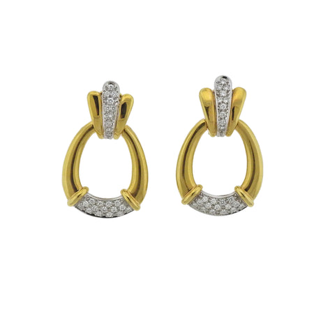 image of 1980s Diamond Gold Doorknocker Earrings