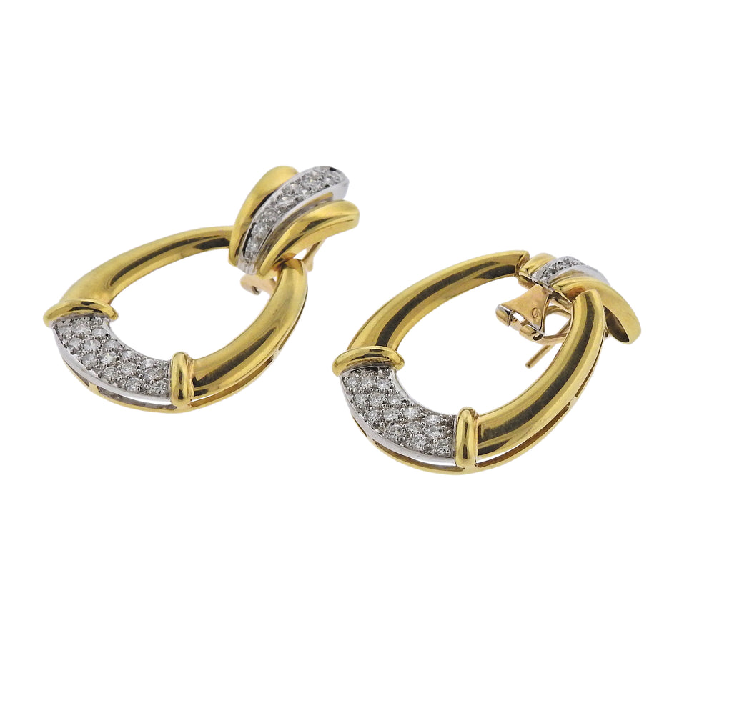 thumbnail image of 1980s Diamond Gold Doorknocker Earrings