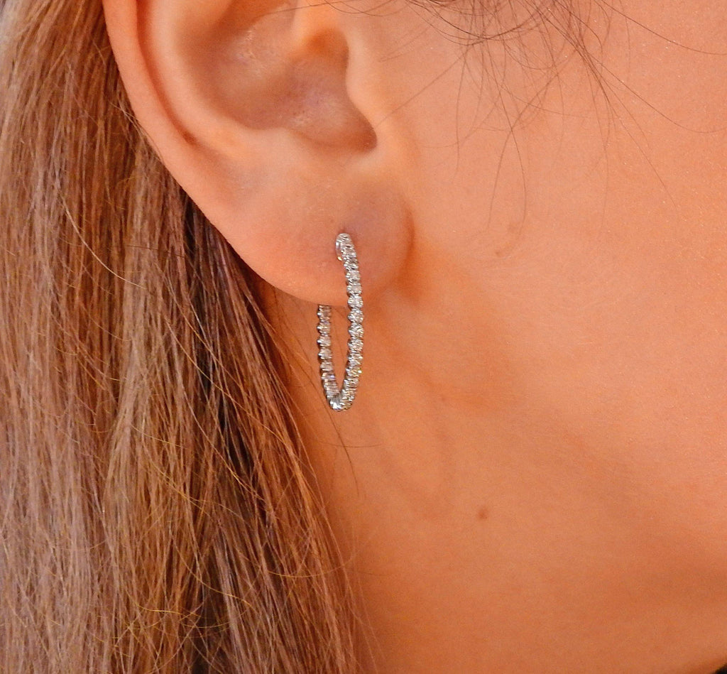 thumbnail image of 0.79 Carat Diamond Inside Out Gold Hoop Earrings