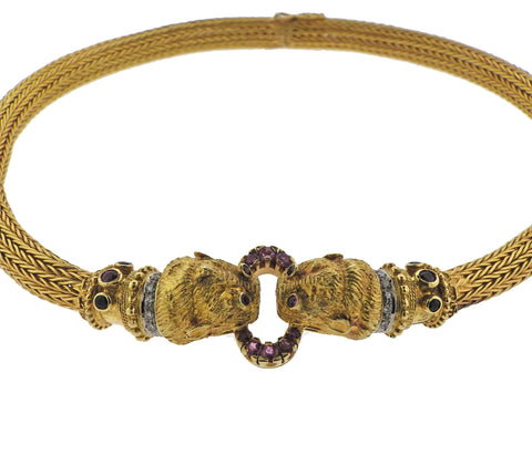 image of Lalaounis Greece Ruby Diamond Sapphire Chimera Gold Necklace