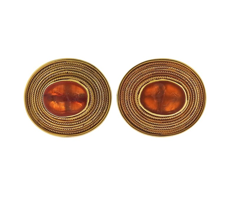 thumbnail image of Ancient Roman Hardstone Intaglio Gold Archaeological Cufflinks