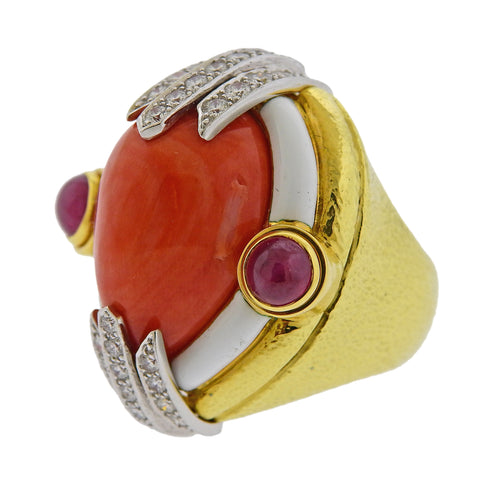 image of David Webb Coral Ruby Diamond Enamel Gold Platinum Ring