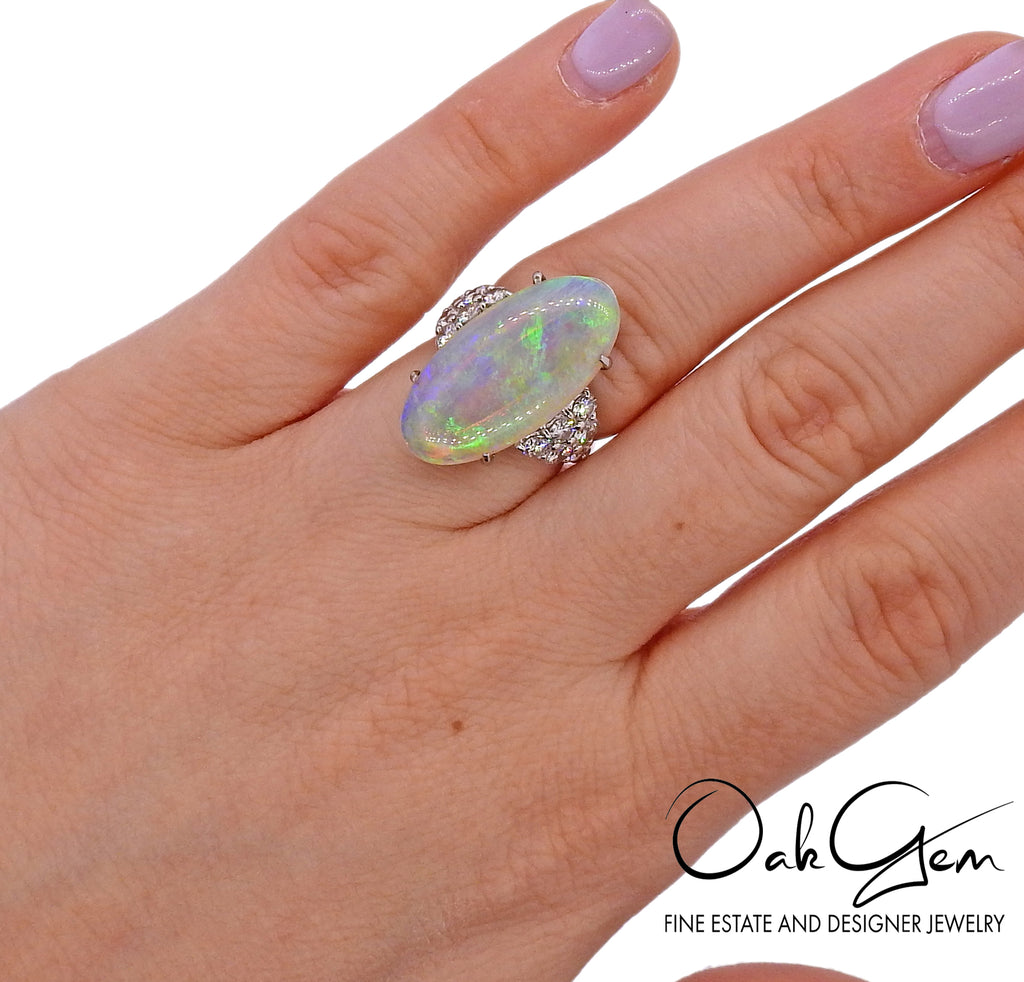 thumbnail image of Opal Diamond Platinum Cocktail Ring