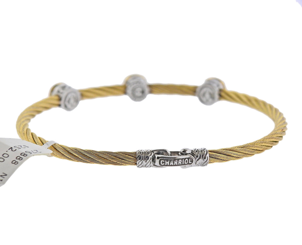 thumbnail image of Charriol Stainless Steel Gold White Topaz Bracelet