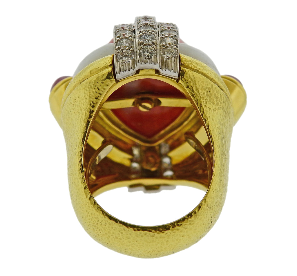 thumbnail image of David Webb Coral Ruby Diamond Enamel Gold Platinum Ring