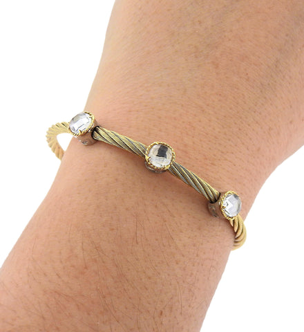 image of Charriol Stainless Steel Gold White Topaz Bracelet