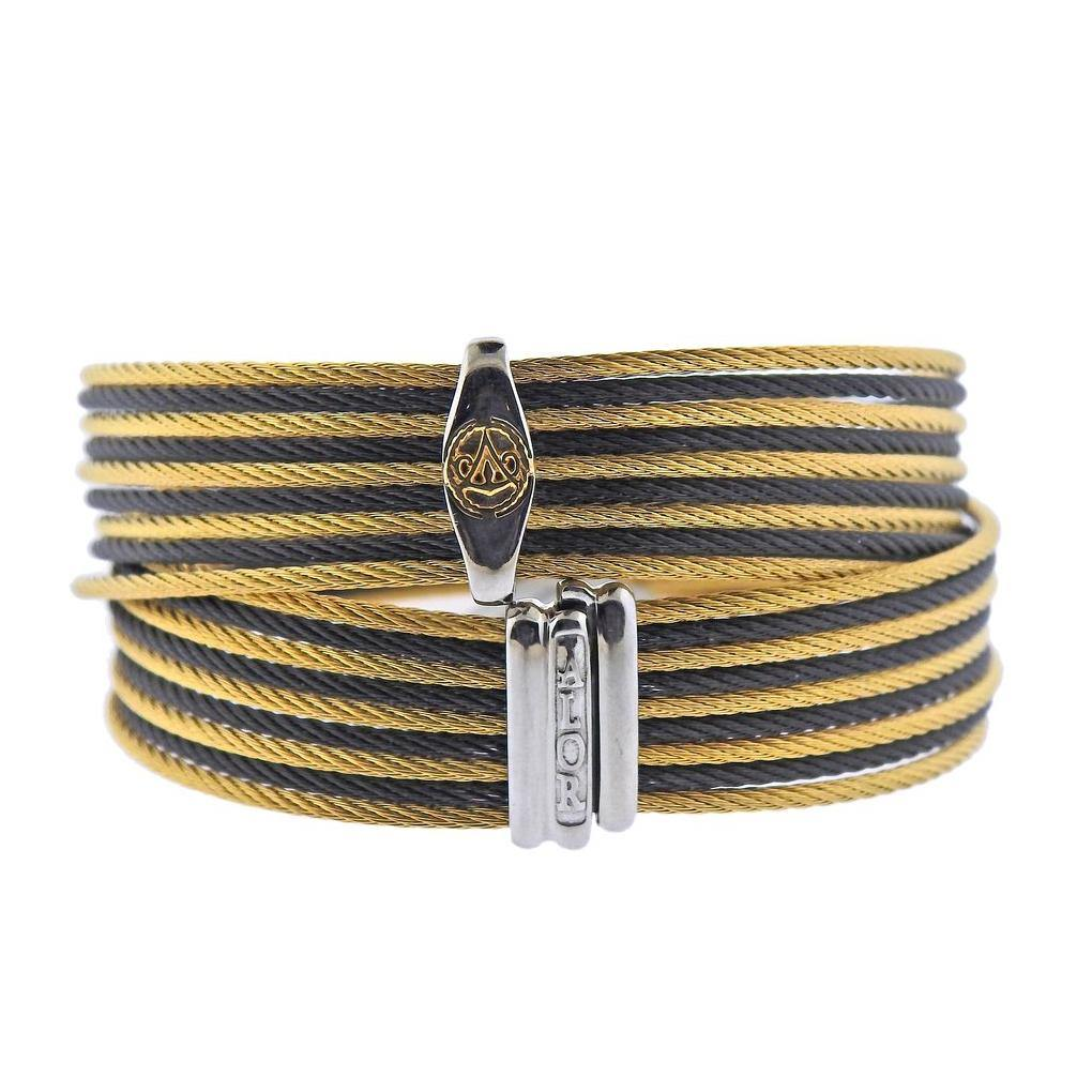 thumbnail image of Alor Stainless Steel Gold Cable Wrap Bracelet