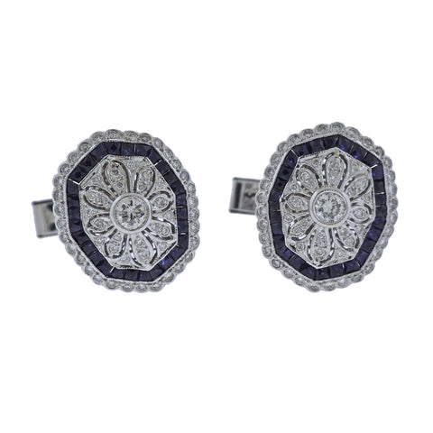 image of Classic Diamond Sapphire Gold Cufflinks