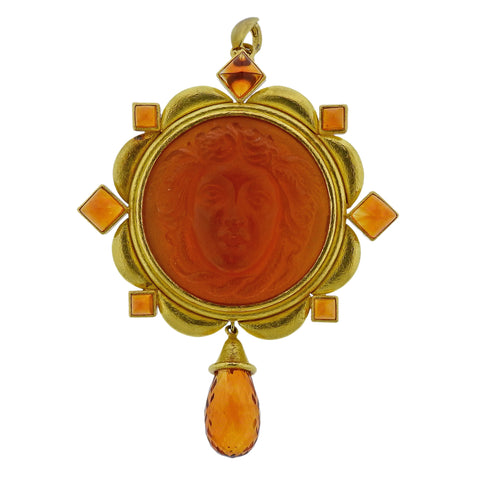 image of Elizabeth Locke Venetian Glass Cameo Citrine Pendant Brooch