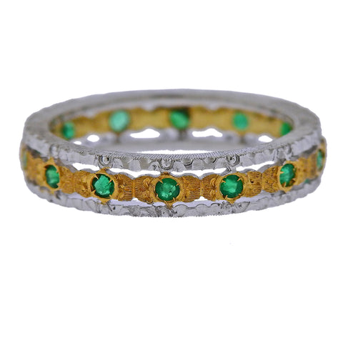 image of Mario Buccellati Emerald Gold Wedding Band Ring