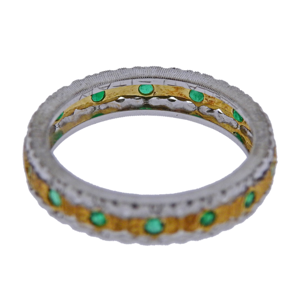 thumbnail image of Mario Buccellati Emerald Gold Wedding Band Ring