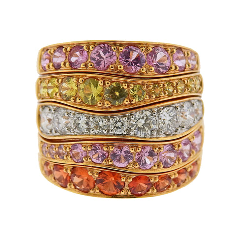 image of Valente Multi Color Sapphire Diamond Gold Ring