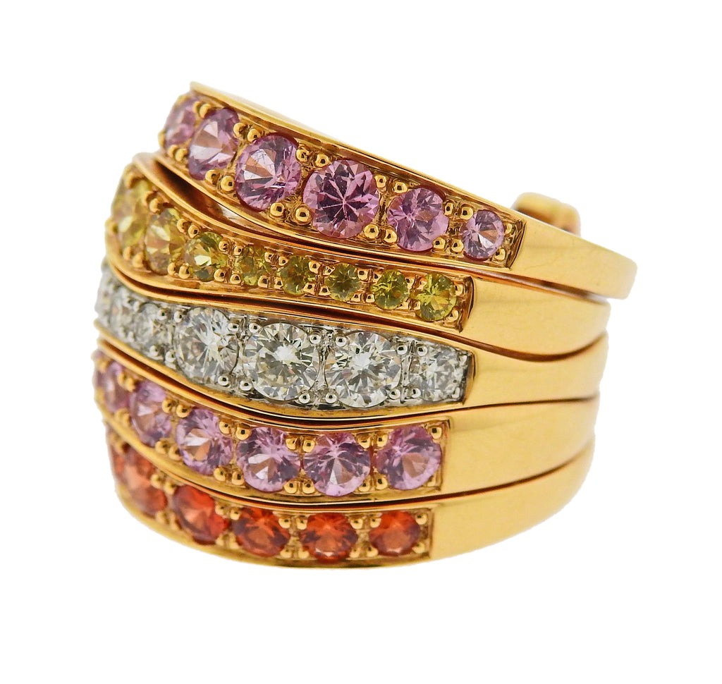 thumbnail image of Valente Multi Color Sapphire Diamond Gold Ring