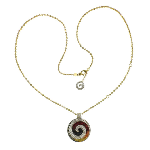 Valente Multi Color Sapphire Diamond 18K Gold Swirl Pendant Necklace