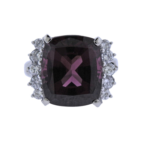 image of Pink Tourmaline Diamond Platinum Ring