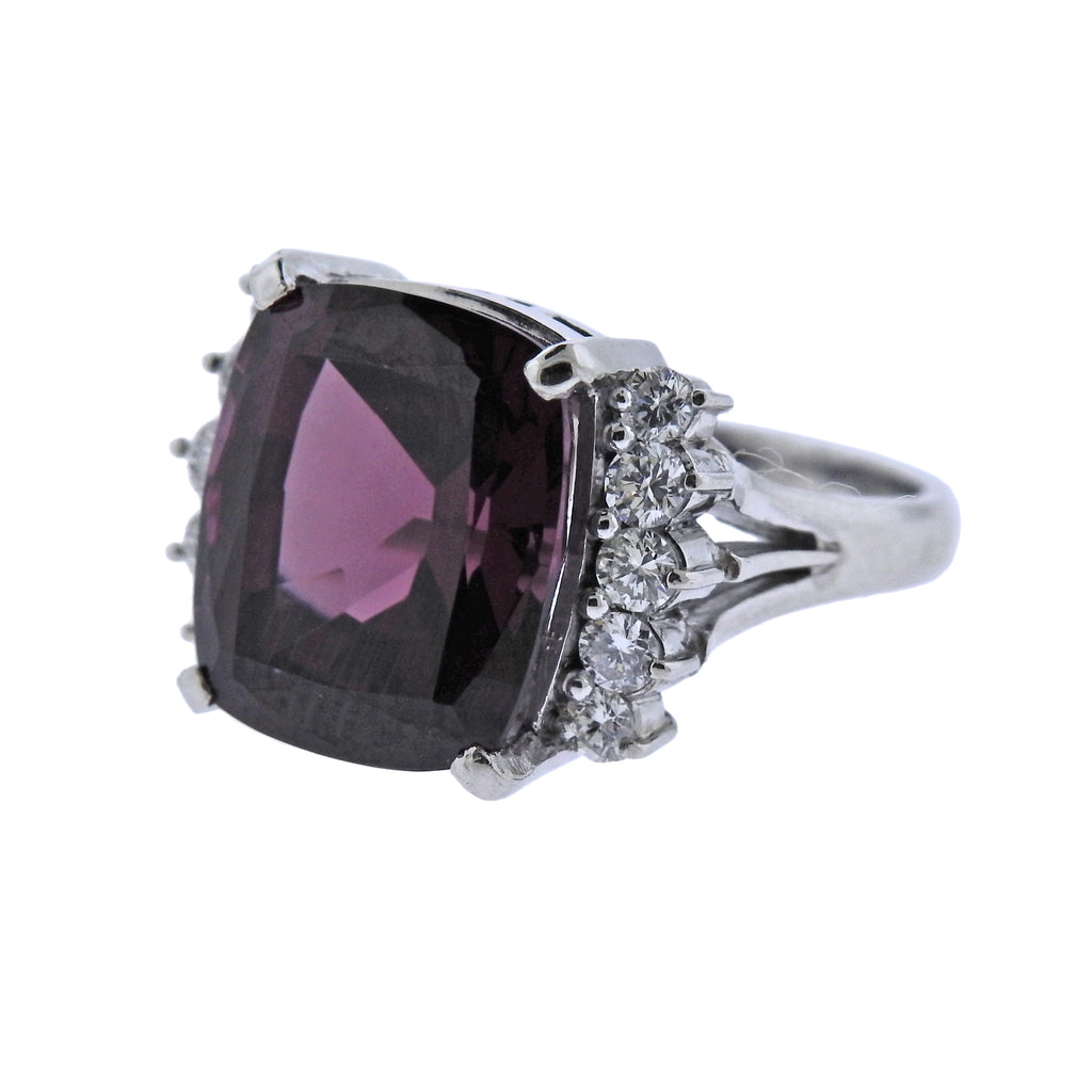 thumbnail image of Pink Tourmaline Diamond Platinum Ring
