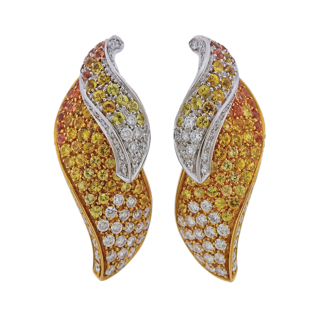thumbnail image of Multi Color Sapphire Diamond Gold Earrings