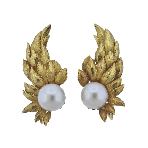 image of Tiffany & Co Schlumberger Pearl Gold Wing Earrings