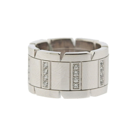image of Cartier Tank Francaise 18k Gold Diamond Wide Band Ring