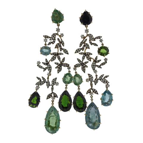 image of H. Stern Nature Diamond Tourmaline Gold Chandelier Earrings