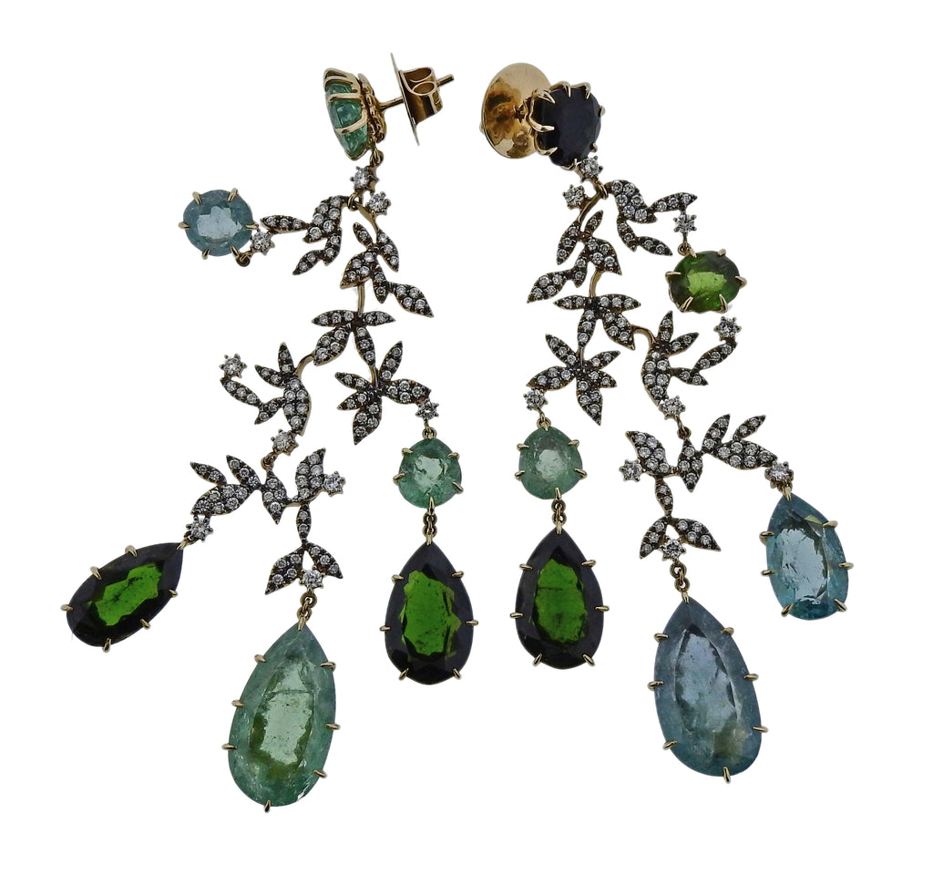 thumbnail image of H. Stern Nature Diamond Tourmaline Gold Chandelier Earrings