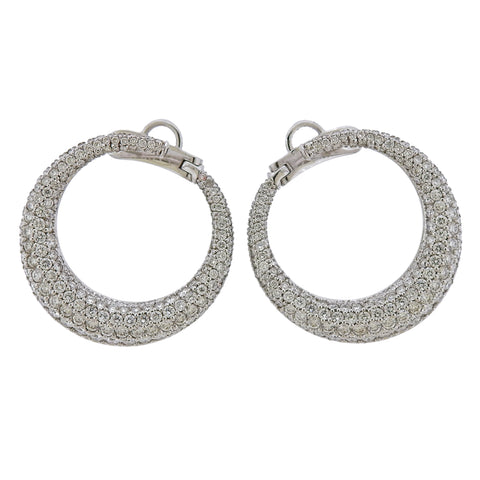 image of Diamond Gold Open Circle Earrings
