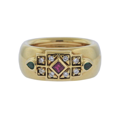 image of Cartier Emerald Ruby Diamond Gold Ring
