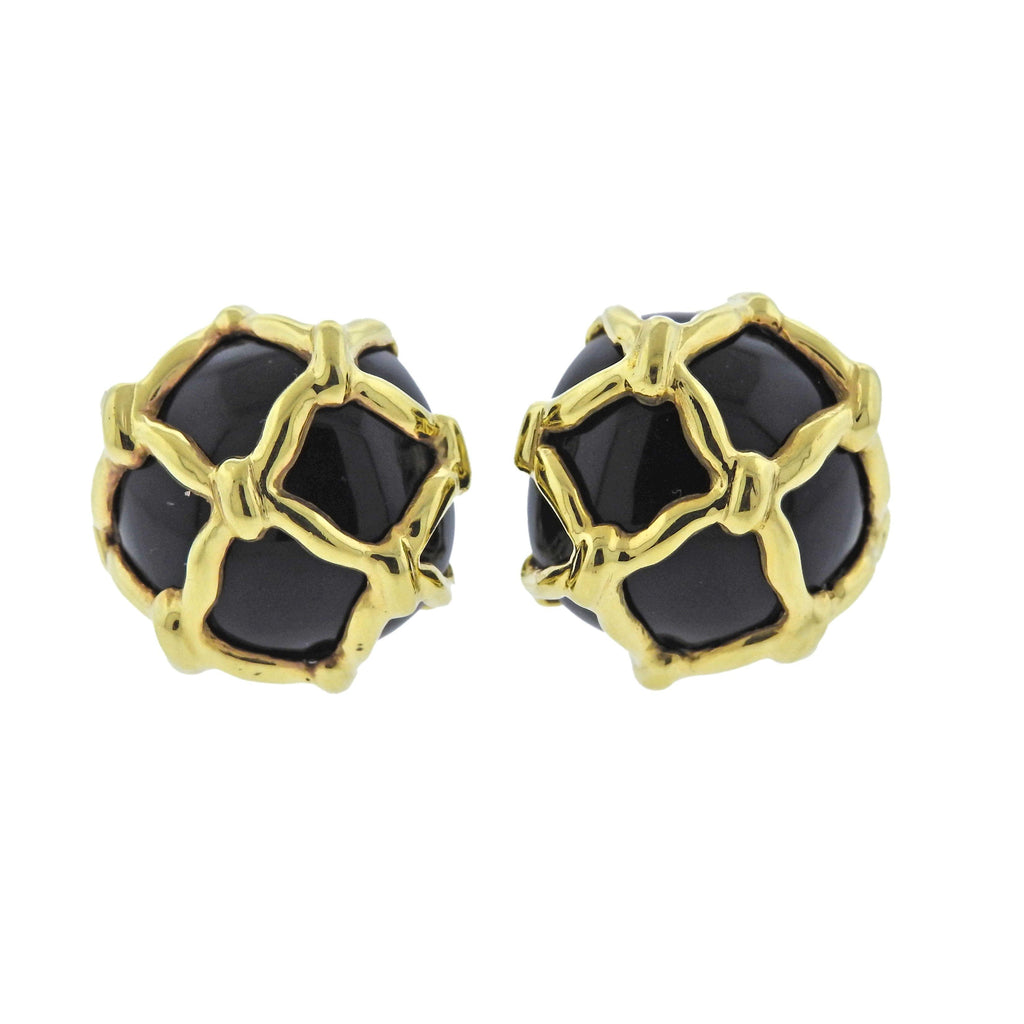 thumbnail image of Maz Black Onyx Gold Caged Earrings