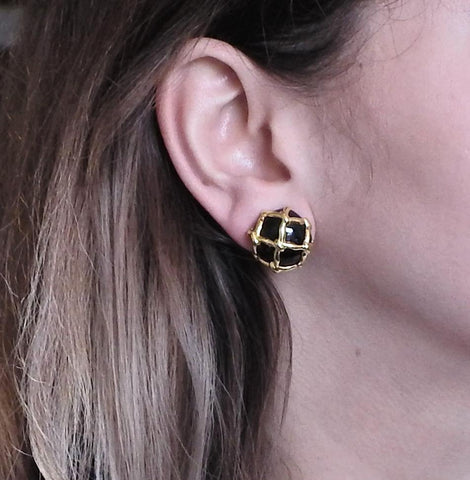 image of Maz Black Onyx Gold Caged Earrings