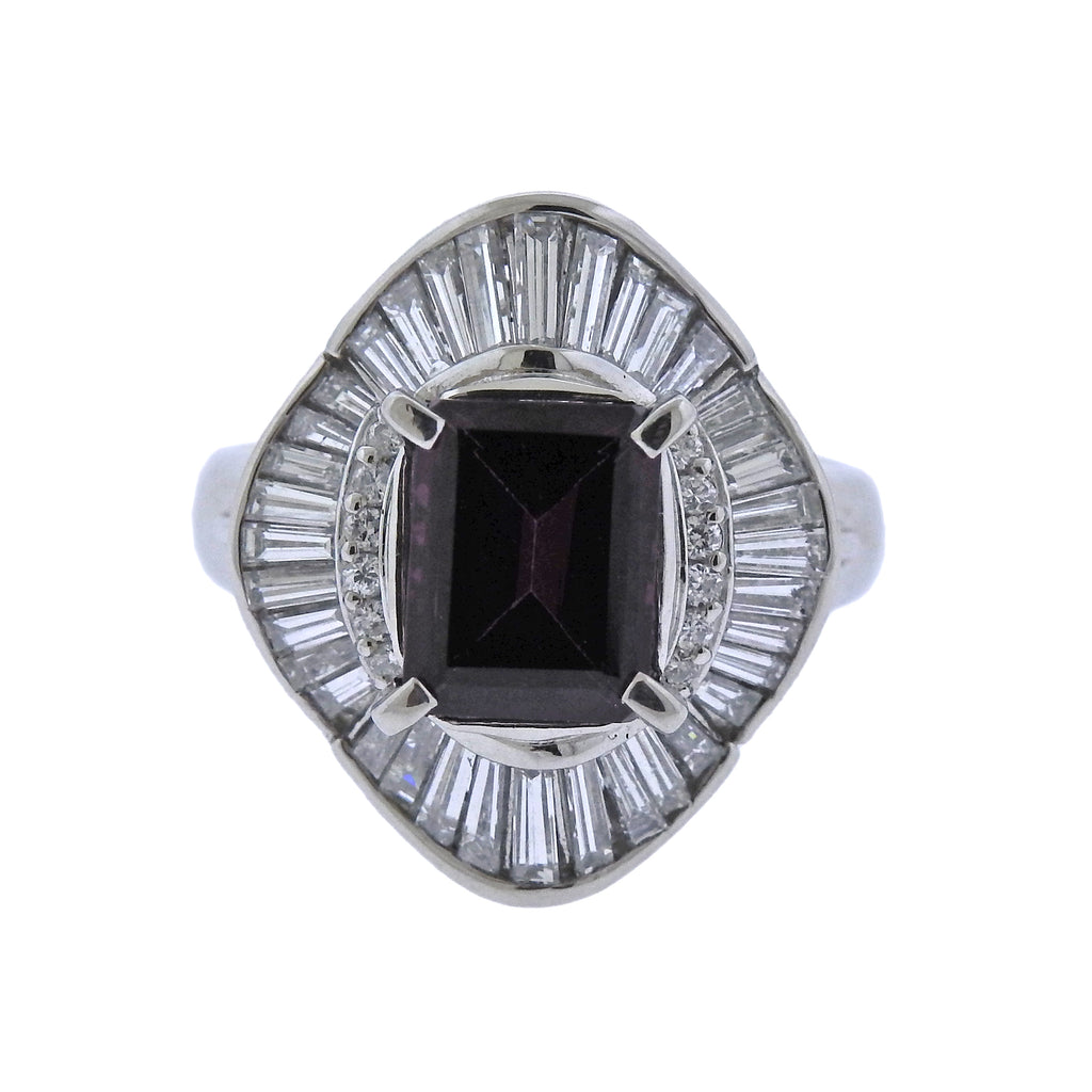 thumbnail image of Diamond Pink Tourmaline Platinum Cocktail Ring