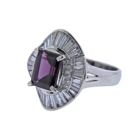 image of Diamond Pink Tourmaline Platinum Cocktail Ring