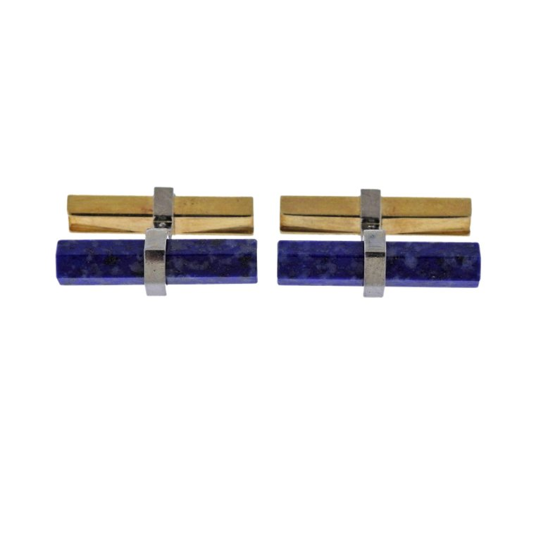 thumbnail image of Cartier Lapis Lazuli Gold Bar Cufflinks