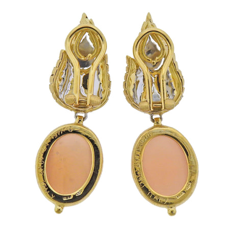 image of Buccellati Peach Moonstone Gold Drop Earrings