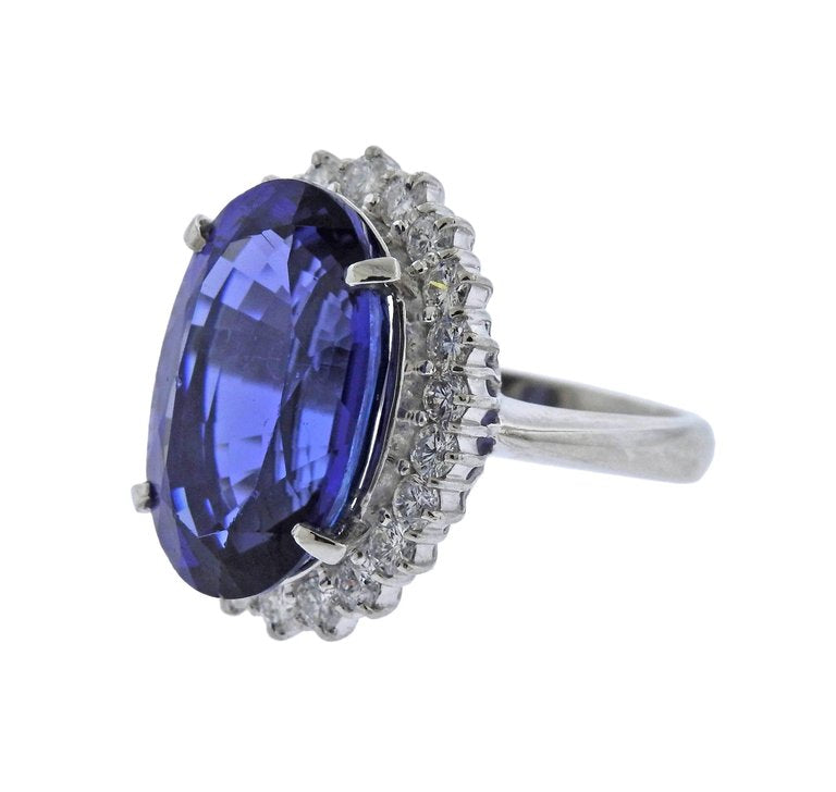thumbnail image of Tanzanite Diamond Platinum Cocktail Ring